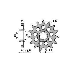 Pignon de sortie de boite PBR type 2078 / 14-15-16-17 Dents - Pas 525