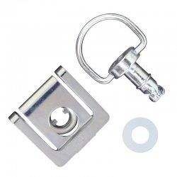 Kit fixation attache DZUS - plaque à clipser + verrou anneau (Alu - Noir)