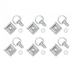 Kit fixation attaches DZUS (X6) plaque à clipser + verrou anneau (Alu - Noir)