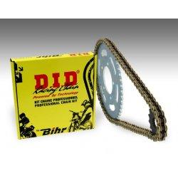 Kit chaine D.I.D SUZUKI GN125 97-00 (Chaine VX - Pas 428 - Couronne Acier)