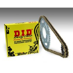 Kit chaine D.I.D KTM EXC250 RACING 4T 04-07 / EXC-F250 08-12 (Chaine VX2 Renforcee - Pas 520 - Couronne Acier)