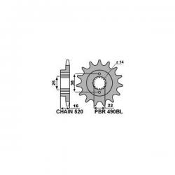 Pignon de sortie de boite PBR type 490BL - 15 Dents - Pas 520