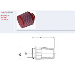 Filtre à air BMC - Cornet Ø50mm - hauteur 86mm (Conique centré) (FMSA50-85)
