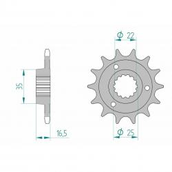 Pignon de sortie de boite AFAM type 52613 / 14-15 Dents - Pas 525
