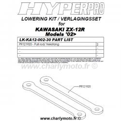 Kit de rabaissement HYPERPRO KAWASAKI ZX-12R 02-06 (-30mm - biellettes)